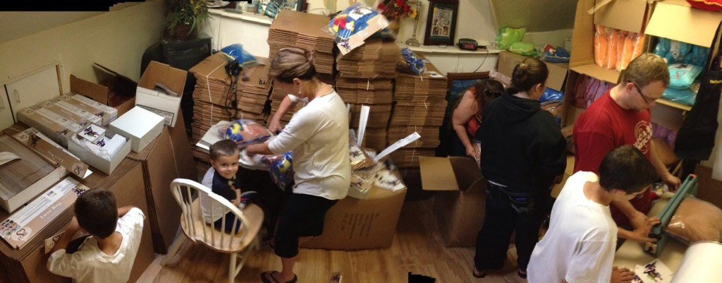 Fran Rebello, Bailey Stewart, Sharon Stewart working on the pillows!